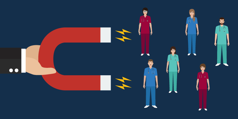 A magnet attracting multiple nurses.
