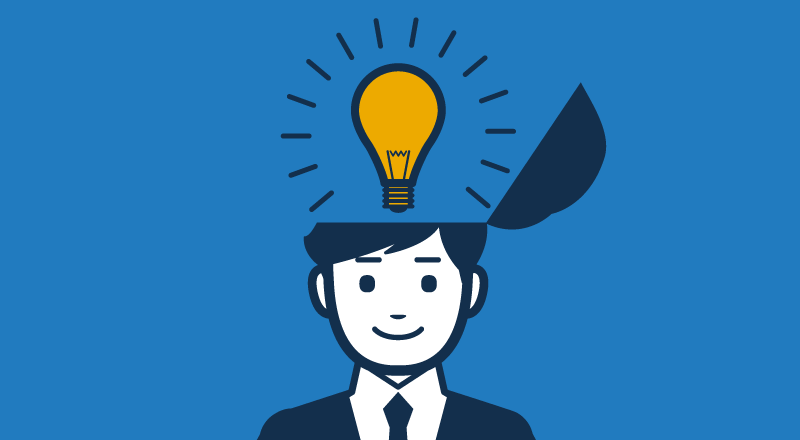 Man in suite with a light bulb above his head