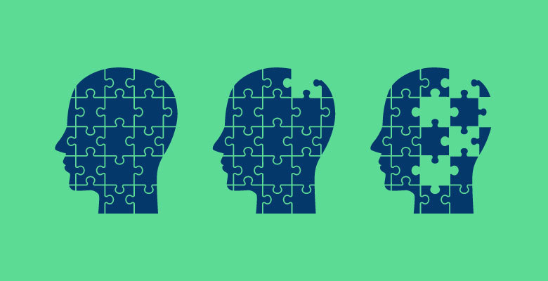 3 silhouettes of a human head as puzzles with the second and third progressively missing pieces to represent the stages of dementia.