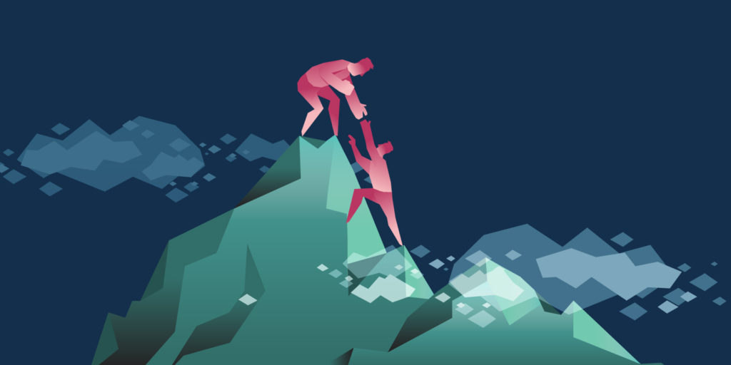 Illustration of one person helping another climb to the peak of a mountain.