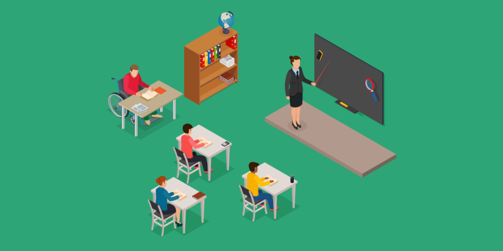 Illustration of an inclusion classroom with a group of regular students and a special needs student with accessible desk.