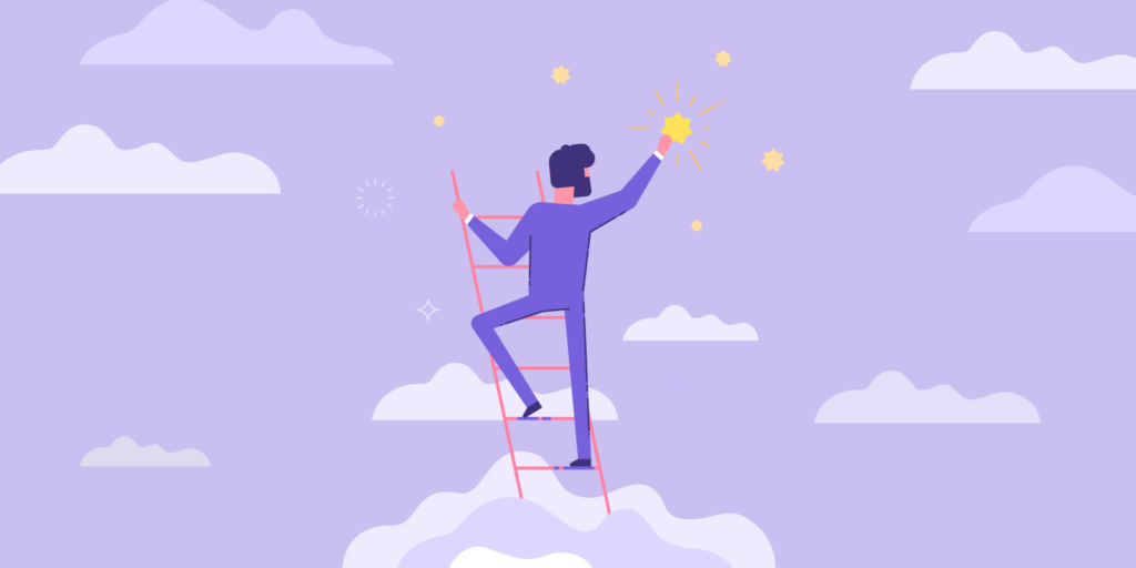 Illustration of male teacher in a purple business suit on a ladder placing stars in the sky.